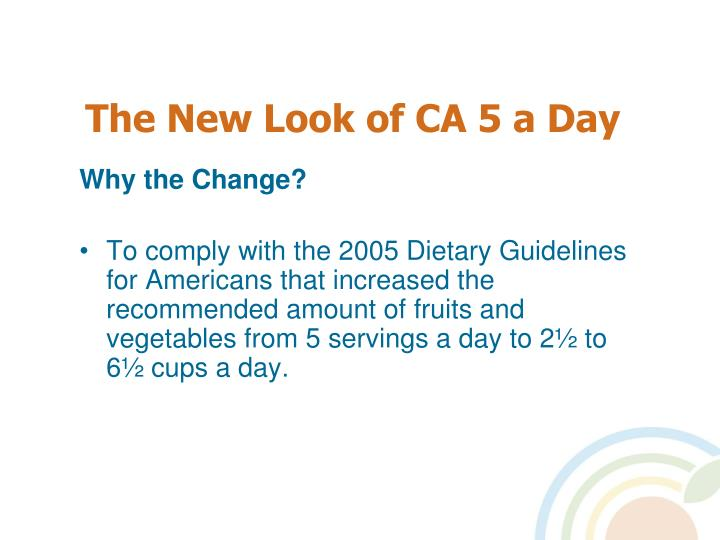 The New Look of CA 5 a Day