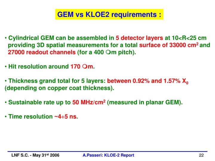 GEM vs KLOE2 requirements :