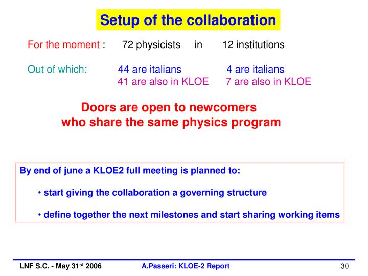 Setup of the collaboration
