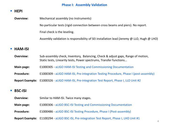 Phase I:  Assembly Validation