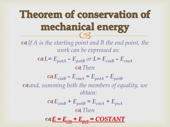 Theorem of conservation of mechanical