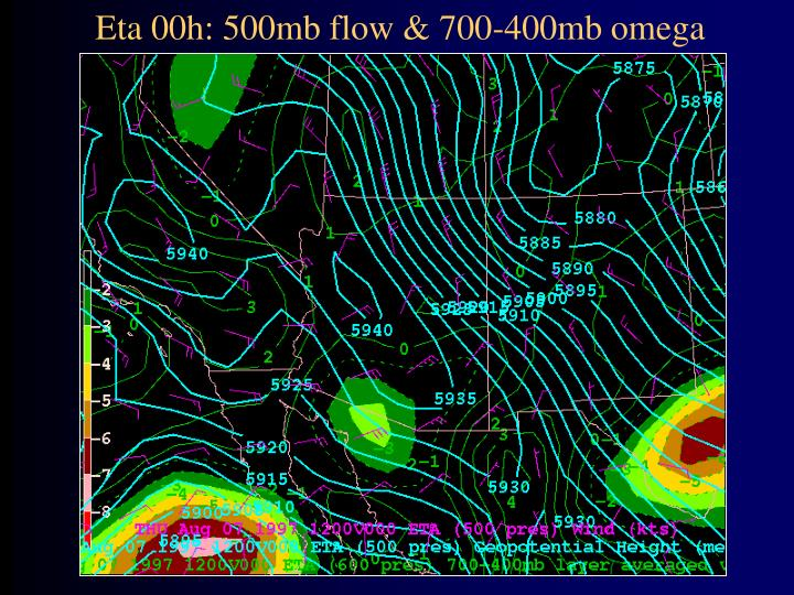 Eta 00h: 500mb flow & 700-400mb omega