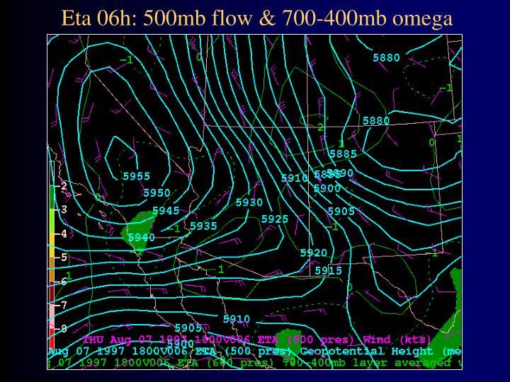 Eta 06h: 500mb flow & 700-400mb omega