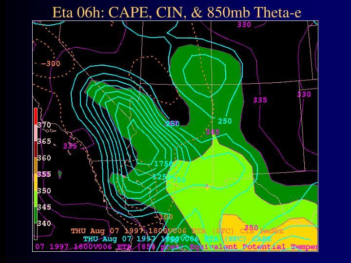 Eta 06h: CAPE, CIN, & 850mb Theta-e