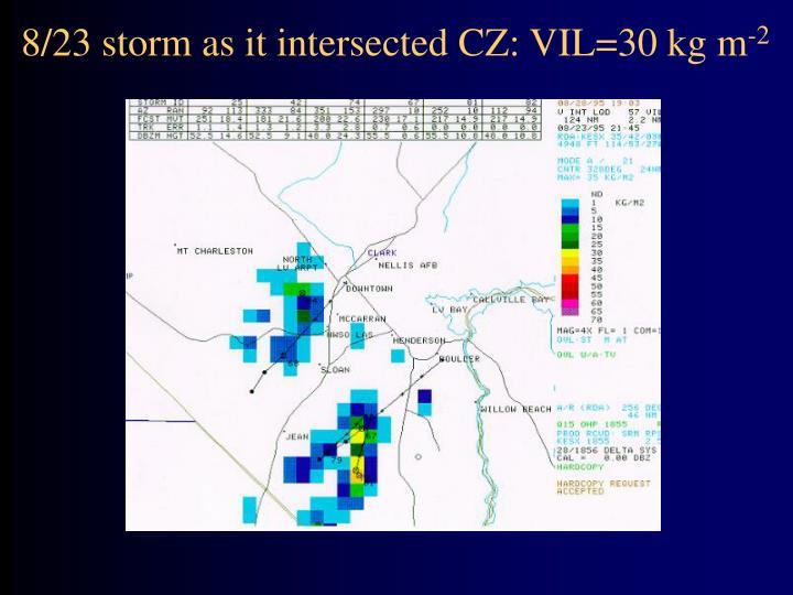 8/23 storm as it intersected CZ: VIL=30 kg m