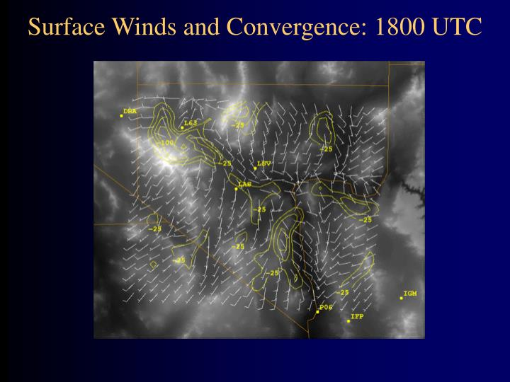 Surface Winds and Convergence: 1800 UTC