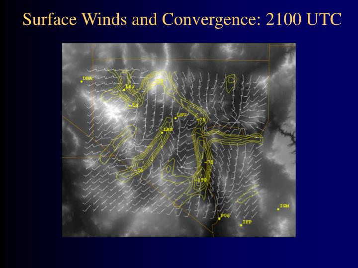 Surface Winds and Convergence: 2100 UTC