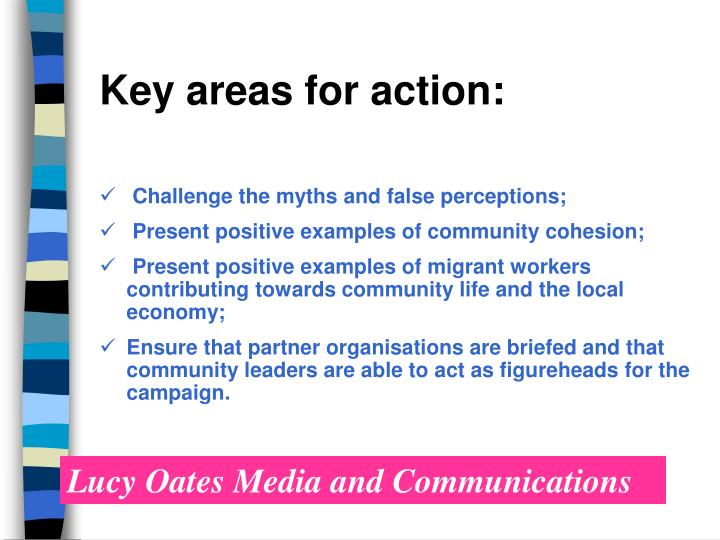 Key areas for action: