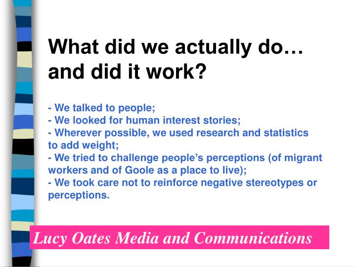 What did we actually do…