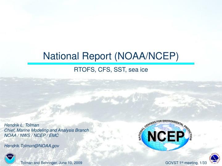 National report noaa ncep