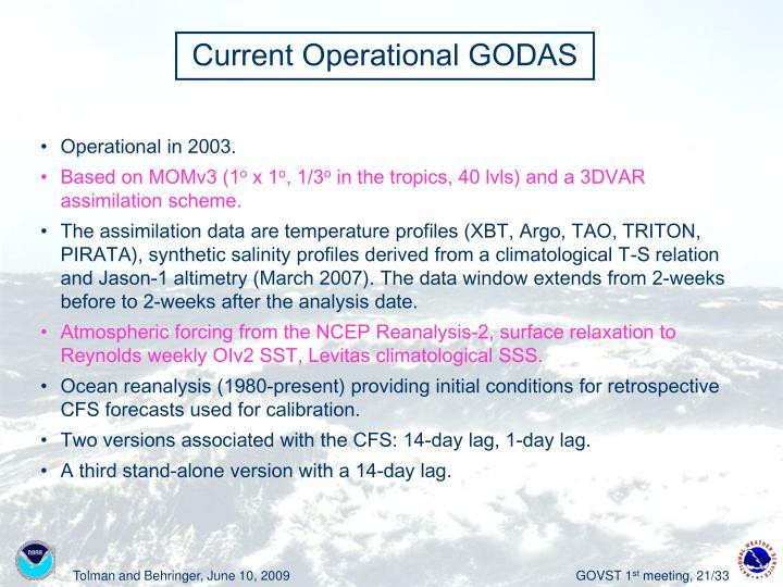 Current Operational GODAS