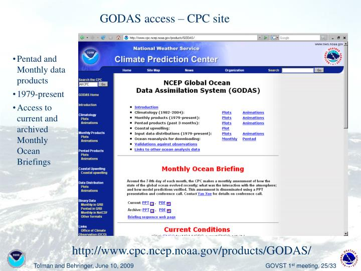 GODAS access – CPC site