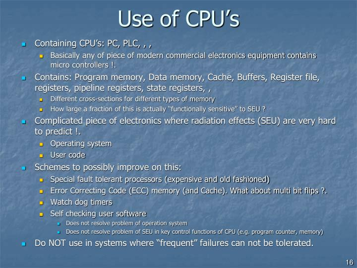 Use of CPU's