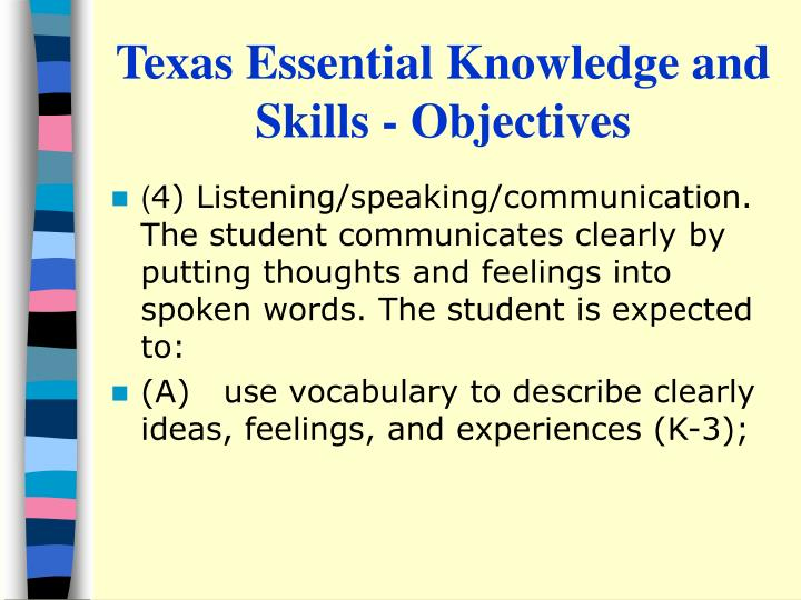 Texas Essential Knowledge and Skills - Objectives