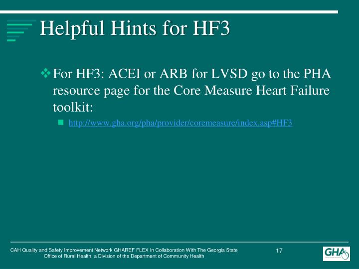 Helpful Hints for HF3
