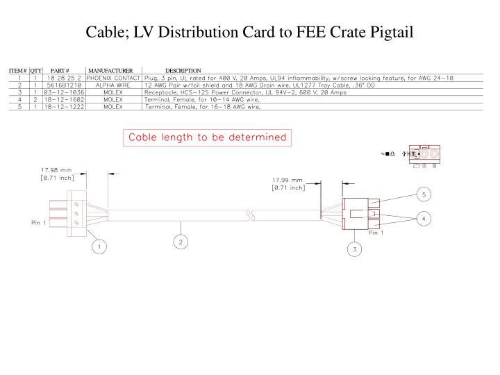Cable; LV Distribution Card to FEE Crate Pigtail