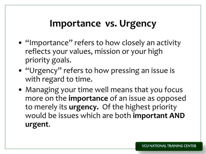 Importance  vs. Urgency
