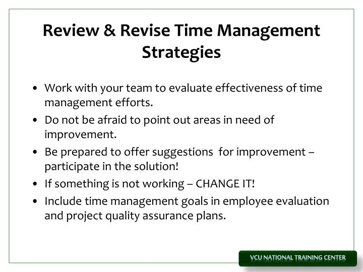 Review & Revise Time Management Strategies