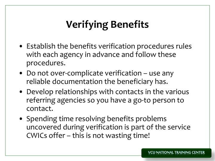 Verifying Benefits