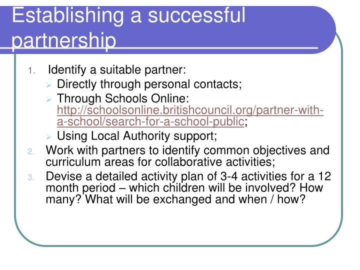 Establishing a successful partnership