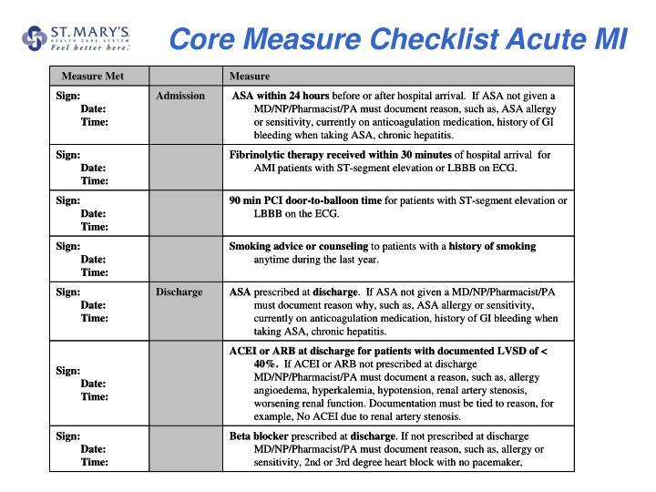 Core Measure Checklist Acute MI