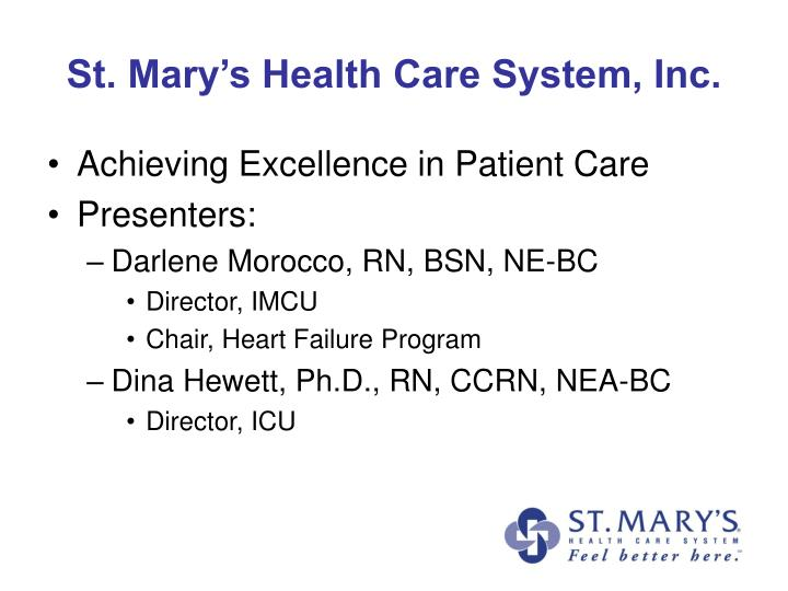 St. Mary's Health Care System, Inc.