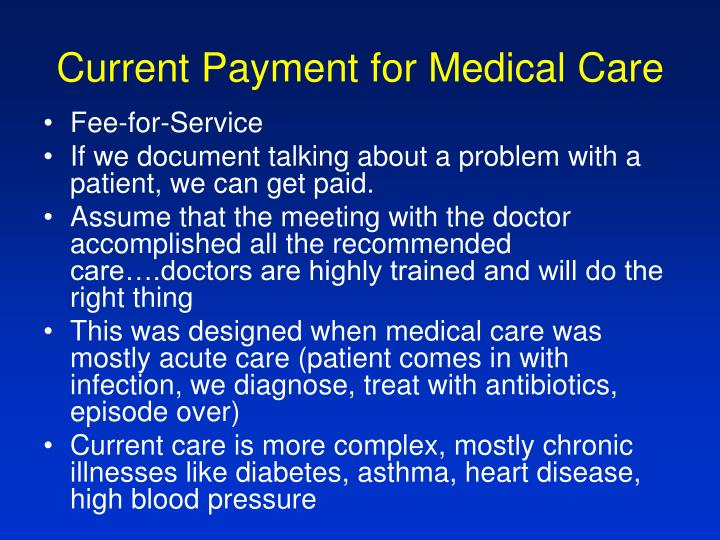 Current Payment for Medical Care