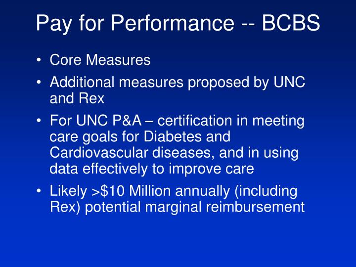 Pay for Performance -- BCBS
