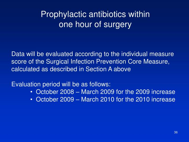 Prophylactic antibiotics within