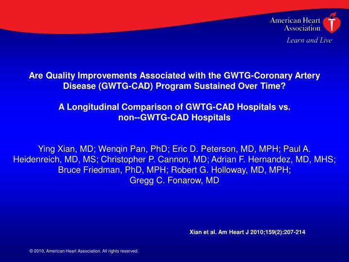Are Quality Improvements Associated with the GWTG-Coronary Artery