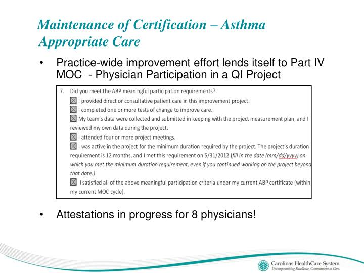 Maintenance of Certification – Asthma Appropriate Care