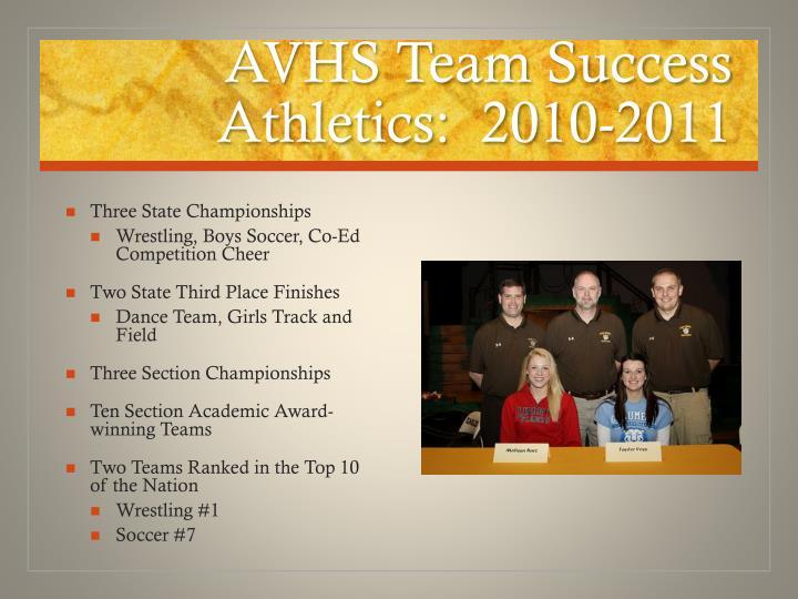 AVHS Team Success Athletics:  2010-2011