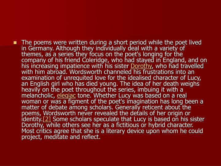 The poems were written during a short period while the poet lived in Germany. Although they individu...