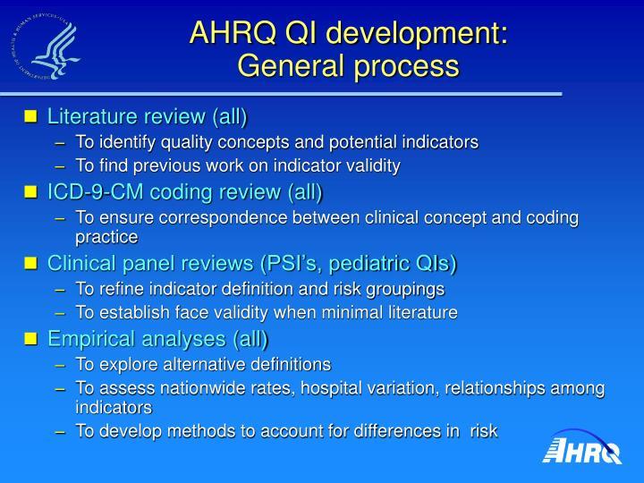 AHRQ QI development: