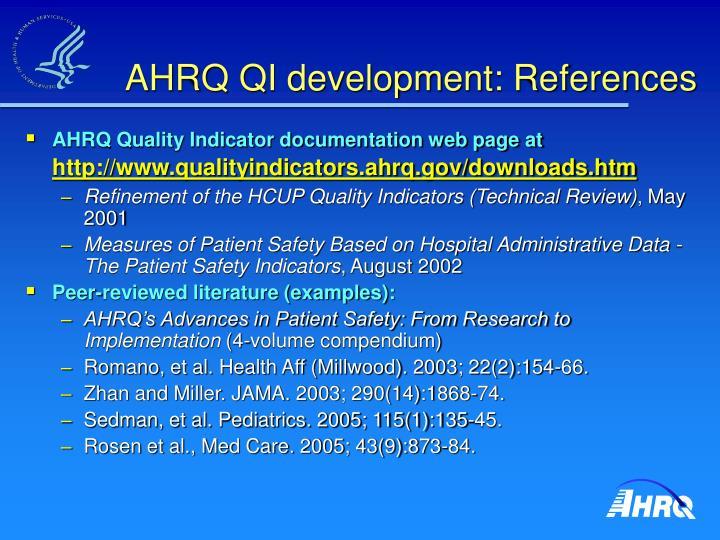 AHRQ QI development: References