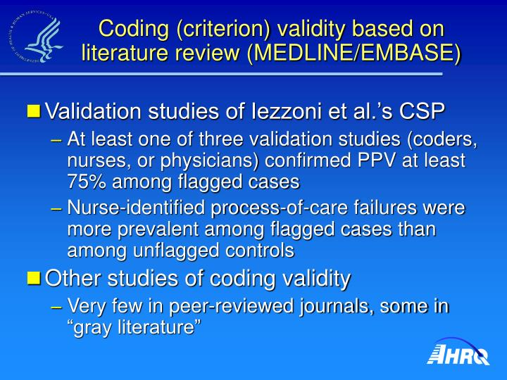 Coding (criterion) validity based on literature review (MEDLINE/EMBASE)
