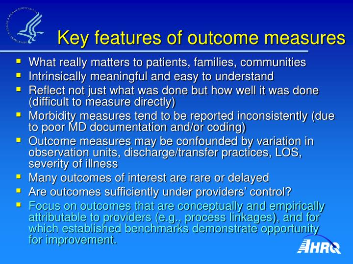 Key features of outcome measures