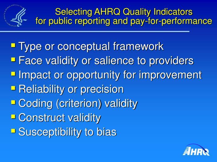 Selecting AHRQ Quality Indicators