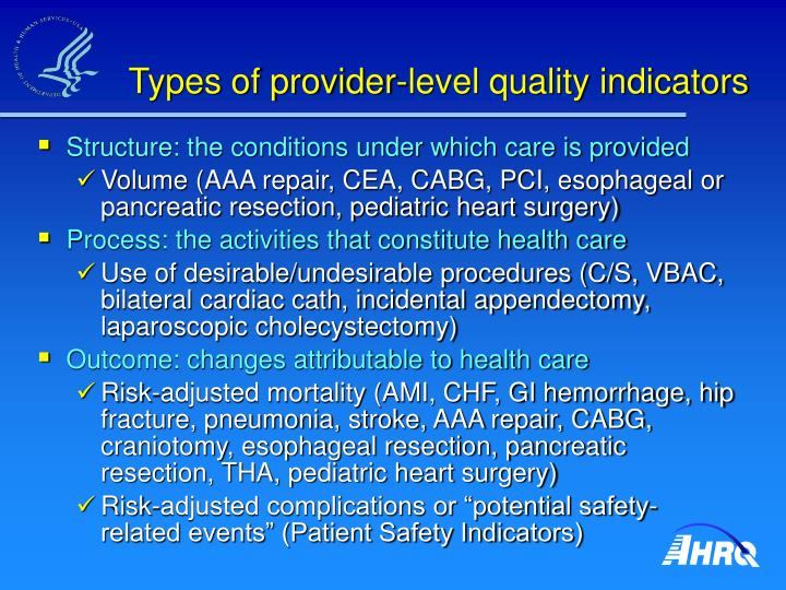 Types of provider-level quality indicators