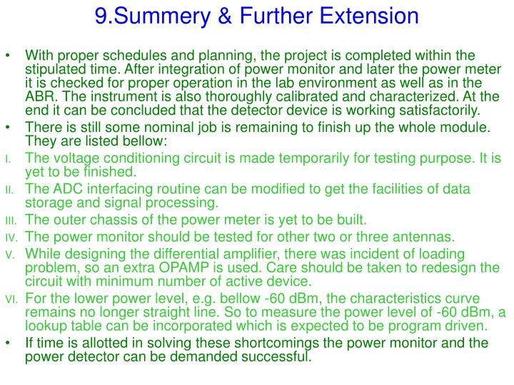 9.Summery & Further Extension
