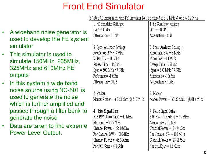 Front End Simulator