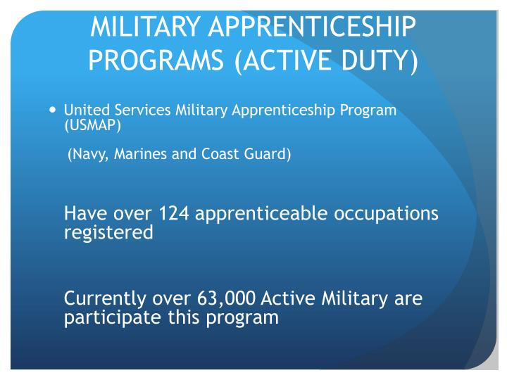 MILITARY APPRENTICESHIP PROGRAMS (ACTIVE DUTY)