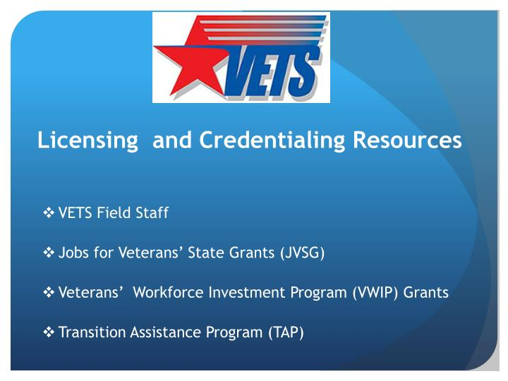 Licensing  and Credentialing Resources
