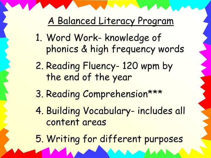 A Balanced Literacy Program