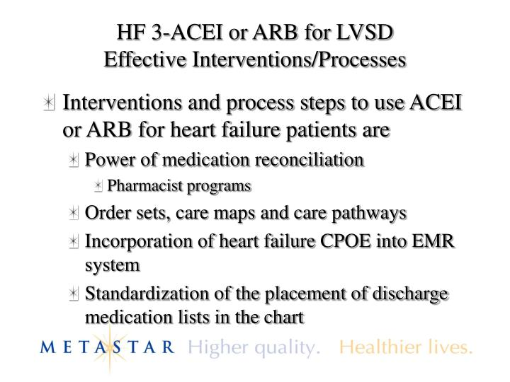 HF 3-ACEI or ARB for LVSD