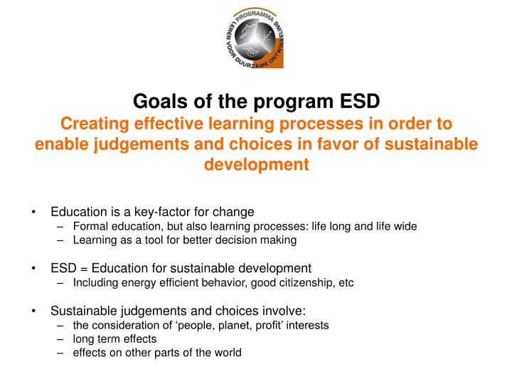 Goals of the program ESD