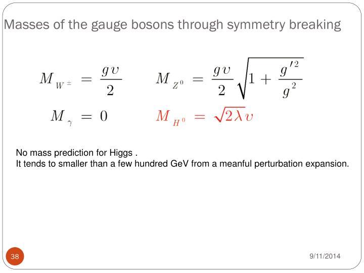 Masses of the gauge bosons through symmetry breaking