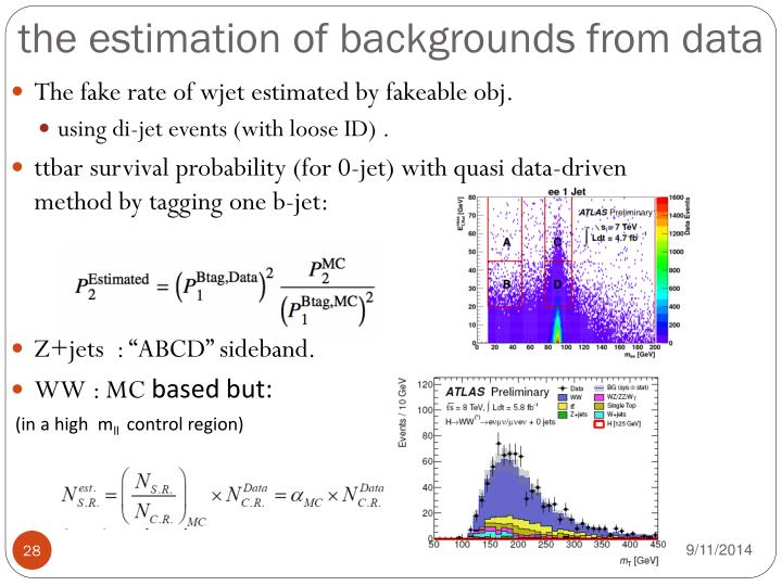 the estimation of backgrounds from data