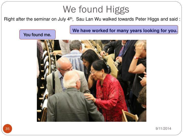 We found Higgs