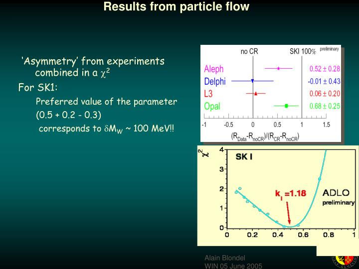 Results from particle flow
